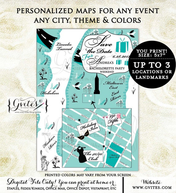 Save the date maps, Audrey Hepburn theme, turquoise blue, breakfast at, bachelorette save the date, weekend save the date. Gvites