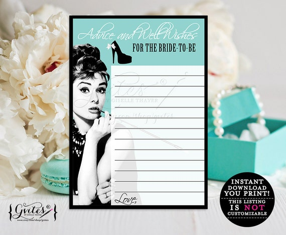 Audrey Hepburn advice cards, bridal shower games, party PRINTABLE advice card, well wishes, bride and co bluet theme, breakfast at wishes.