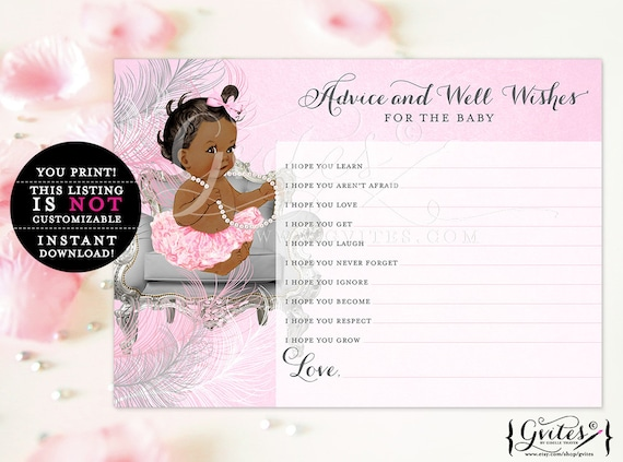Princess baby wishes, African American baby girl advice card, silver and pink, ethnic baby girl, INSTANT Download {Dark/Jet} 5x7 2/Sheet