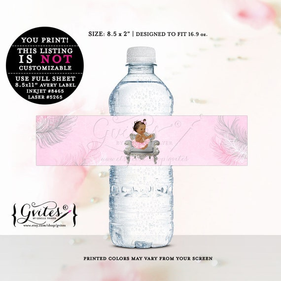 African American water labels, baby shower, stickers, favor gifts, decorations, silver white and pink, ethnic shower. {MED/BRUNETTE}