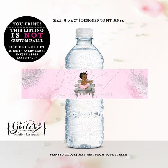 African American water labels, baby shower, stickers, favor gifts, decorations, silver white and pink, ethnic shower. {DARK/JET}