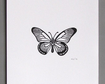 Butterfly Linocut Print // Handmade // Original