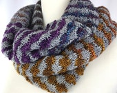 Cowl // neckwarmer // Purple // blue // yellow // Merino wool // handknit // double cowl // gray cowl // purple cowl // thick cowl