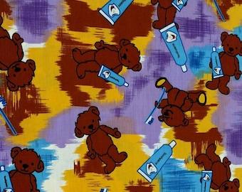 "CHILDRENS DENTAL FABRIC - 58"" wide - bear/toothpaste/toothbrush/hygenist/scrubs [[half yard // by the yard]]"