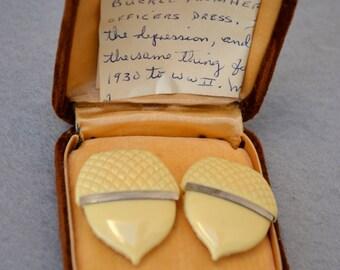 Celluloid Acorn Buckle with Provenance Art Deco Vintage