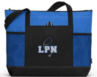 Embroidered LPN Tote Bag/ LPN Nurse Tote/ LPN With Stethoscope Royal Blue Nurse Tote Bag/ Nurse Gift
