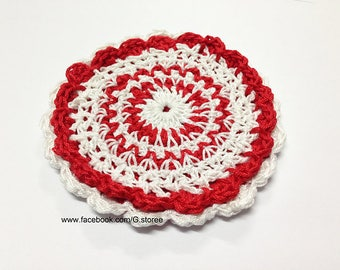Valentine crochet coaster, Colorful crochet coaster pattern, cup coaster, red and white flower crochet coaster double layer