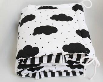 Cot bumper, Clouds Bumper, Black and White Bumper, Half Cot Bumper
