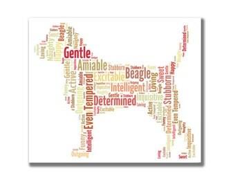 Beagle - personalised dog word art. Digital image.