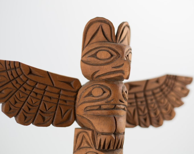 Carved Totem Pole / Canadian Hand-carved Thunderbird Stained Cedar Totem Pole signed by Rita William