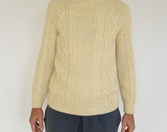 Men's Wool Fisherman Sweater Cable Knit Cream Off White  Hand Knit Irish Fisherman Sweater Athletic Fit Size Medium