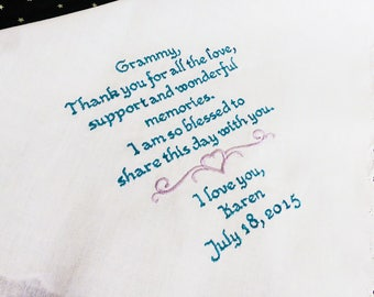 Embroidered Custom Grandmother of the Bride Handkerchief - FREE Gift Box - Embroidered Wedding Handkerchief - Wedding Handkerchief