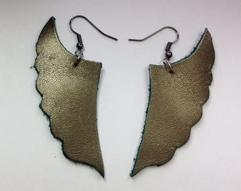 Gold green metalic wing leather earrings