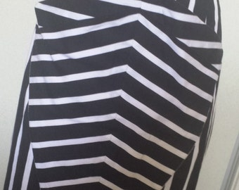 Ladies Zebra Skirt Black and White Bold stripe