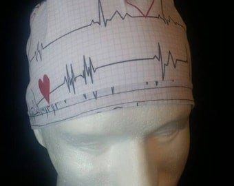 Heart Beat Hearts EKG Tie Back Surgical Scrub Hat