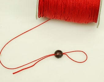 Black-Red Silky Cord For Beading