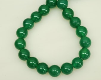 10mm Smooth Round Shape Green Onyx Bead