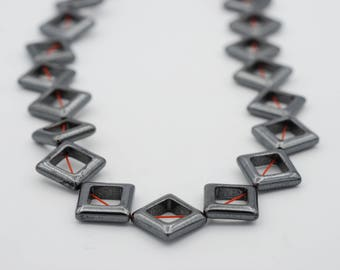 "15x15mm Flat Diamond Non Magnetic Bead, 15"" long"
