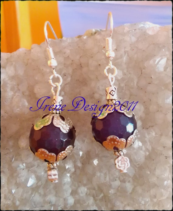 Facetted Amethyst & Rose Earrings by IreneDesign2011