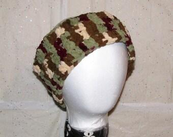 Handmade Crochet Camo Fleece Yarn Headband and Ear Warmer