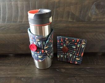 Insulated Mug Wrap / Coffee Cosy - Arrows