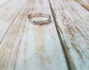 Stacking Ring hand stamped sterling silver 925 Personalised ring