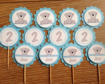 Teddy Bear Personalised Cupcake Toppers ~ for Birthdays, Baby Shower, Christening ~ Blue