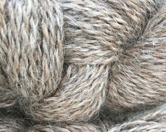 Light Brown Llama Yarn, Natural Color, Two Ply, DK Weight, 200 yards, Yarn to Knit, Yarn to Crochet, Yarn to Weave, Farm raised