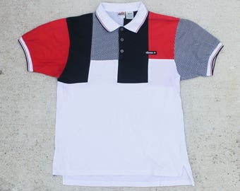Vintage Wild 90's Checkerboard Striped Abstract Pattern Ellesse Brand Polo Collared Tee T Shirt Size Large 6