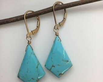 Kingman Mine Turquoise Earrings, Turquoise Earrings, gold Earrings, Gemstone Earrings, Blue Stone, earrings under 150