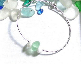 Sea Glass Bracelet Genuine Beach Glass Garden Leaf Seaside