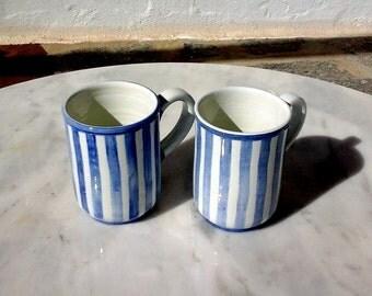 one ceramic tea mug, coffee mug, blue and white stripes, handmade