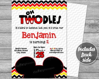 Mickey Mouse Invitation Digital PRINTABLE, Oh TWOdles Invitation, Mickey Mouse Birthday Invitation 2nd, Red Second Boy Toodles Two Dles DIY