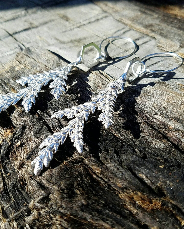 Cedar Leaf Hexagon Cast Recycled Sterling SIlver Earrings