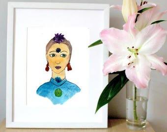 Chakra art print - yoga print art - chakra artwork - zen art - meditation art - bohemian home decor print - yoga art for home - yoga gift