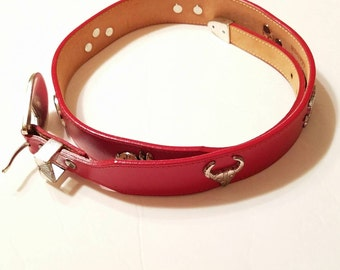 Silver Creek Collection, Vintage Belt, Red Leather Belt, Silver, Concho, Animals, Southwestern, 90s fashion, Rabbit, Bear, Snake, Turtle