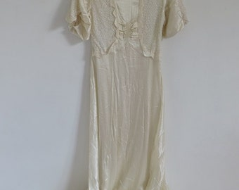 Nightgown//Vintage Nightgown//40s Nightgown//Cream Vintage Dress