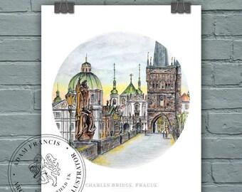 Prague, Charles Bridge. PRINTS from my detailed pen drawing & watercolour painting. Praha, Karlův Most, Czech Republic Praha
