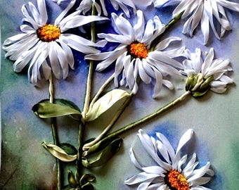 SILK RIBBON EMBROIDERY, 3D Picture, Camomiles