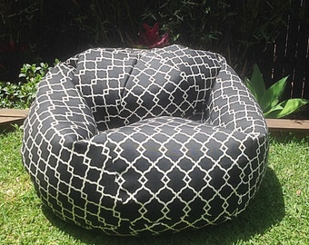 Outdoor BeanBag Black White Fretwork Adults Bean Bag All Ages Seamist
