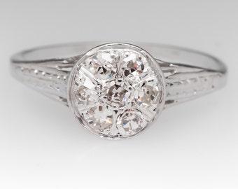 1940s Diamond Engagement Ring - Vintage Diamond Cluster Ring - 18K White Gold Filigree and Engraved Vintage Ring - WM11913