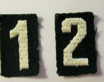 Set of Four Vintage Girl Scout Troop Numbers circa 1940's/#0, 1, 2, 4