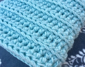 Ice Blue Baby Afghan - Ready To Ship Afghan- Baby Blanket - Custom Afghan- Crochet Afghan - Crochet Blanket