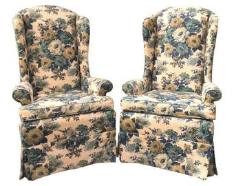 Pair of Hollywood Regency Floral High Wing Back Chairs by Laine