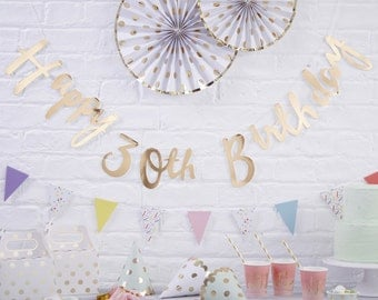 30th Birthday Banner, Gold Happy Birthday Banner, Bunting, 30th Birthday Party Decoration, Modern Print Banner