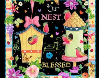 Birds, Songs, Nests, Flowers, 6 Prints, Blessed, Helz Cuppleditch, Quilting Treasures (By Panel)