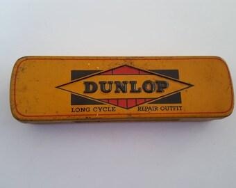 Vintage 1930's Dunlop Long Cycle Repair Outfit,  embossed bicycle tire tube repair kit. Nice colors