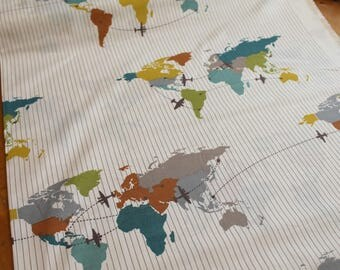 Travel Crib Sheet - Organic Baby - Airplane Nursery - Travel Baby Bedding - Birch Fabrics Trans Pacific - Adventure Nursery - Map Crib Sheet