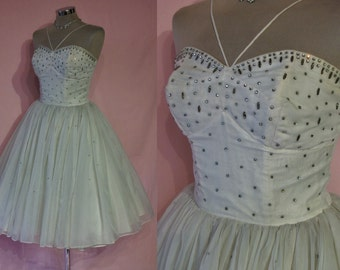 "Ultimate 1950s chiffon ballerina prom dress w/rhinestone studded bodice and skirt,  bust 33"" vintage bride MUST C!"