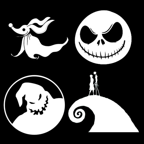 Nightmare Before Christmas Vinyl Decals Jack Sally Spiral